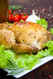 Baked chicken with salad