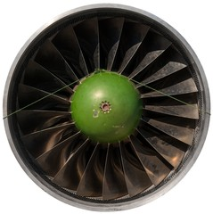 Closeup of a dark jet engine