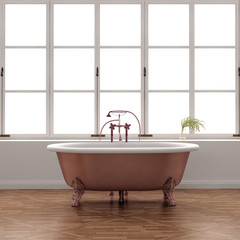 Luxury old vintage classic bronze bathtub with old floor