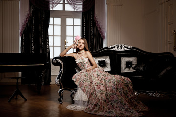 Luxury young smiling beauty woman in vintage dress in elegant in