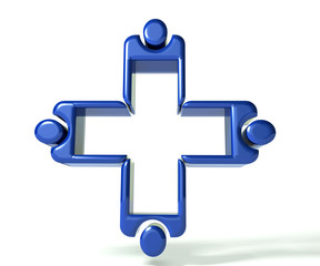 Blue Medical teamwork 3 D image