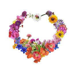 Assorted Flowers In Heart Shape