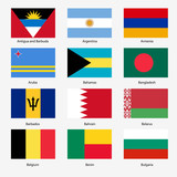 Set Flags of world sovereign states. Vector illustration. Set n