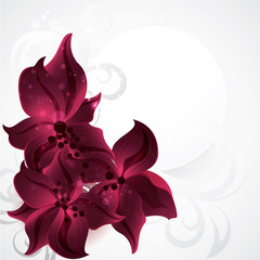Card with flowers. Background with orchid.