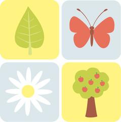 Set of simple garden illustrations