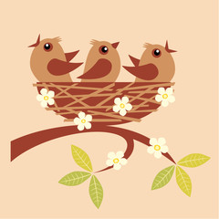 Illustration of cute little birds sitting in a nest.