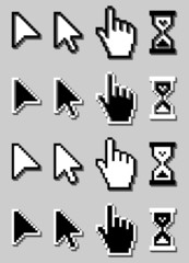 Vector 3D Pixel Cursors Icons Set, Mouse Hand, Arrow, Hourglass