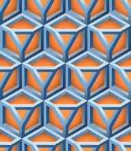 3D Lattice Vector Seamless Pattern, Basé sur Triangle Impossible