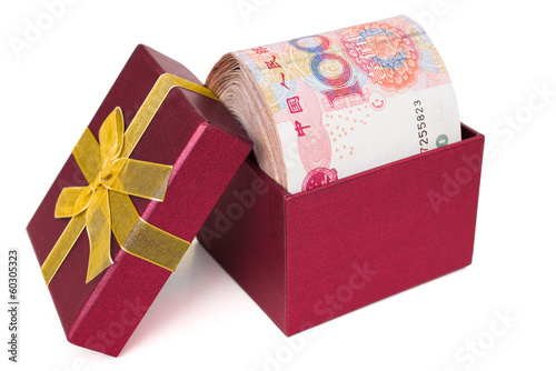 big stack of RMB in a red present box with clipping path