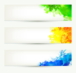 set of three colorful headers. Season banners