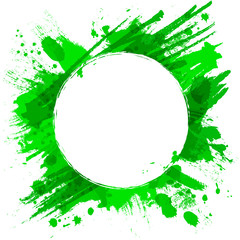 Green vector background with brush strokes and splashes.
