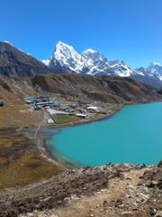 The world's largest glacier Khumbu originating from the highest