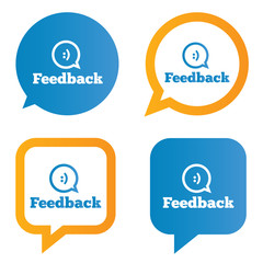 Feedback speech bubbles with smile.