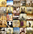 canvas print picture - viaggiare vintage collage