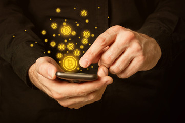Bitcoins on smartphone