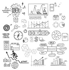 Business, finance elements and icons, doodle hand drawn sketch