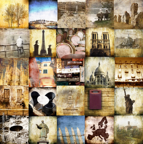 canvas print picture viaggiare vintage collage