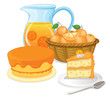 Cakes and juice drinks