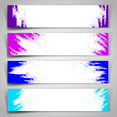 Set of vector banners with blue and purple brush strokes.