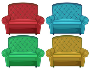Four colorful couches