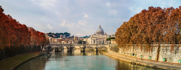 View of the Vatican with Saint Peter's Basilica and Sant'Angelo'