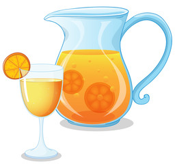 A glass and a pitcher of juice