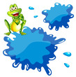 A green frog and an empty blue template