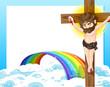 A cross, a rainbow and an empty template