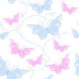 Tender seamless pattern with butterflies