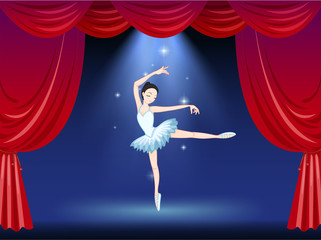 A stage with a beautiful ballerina dancer