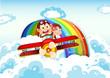 Playful monkeys riding on a plane near the rainbow