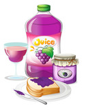 Grape juice, jam and sandwich