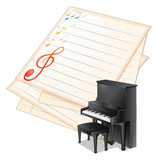 An empty paper with musical notes beside a piano