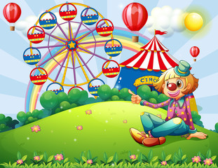 A clown at the hilltop with a carnival