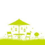 Summer Garden Green/White