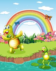 A turtle and a frog playing at the pond with a rainbow above