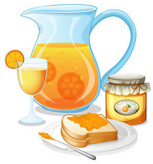 Orange juice, jam and a sandwich