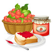 Strawberries, strawberry jam and a sandwich