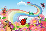 A rainbow at the garden with insects