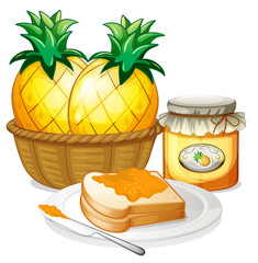 Pineapple, jam and sandwich