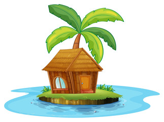 An island with a nipa hut and a palm tree