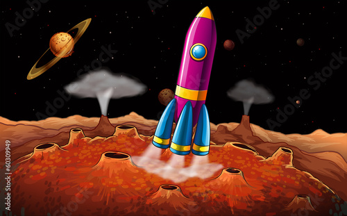A rocket and planets at the outerspace