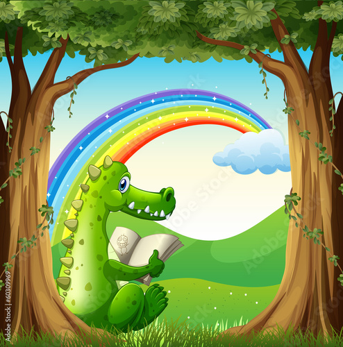 A crocodile reading under the tree below the rainbow