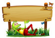 A playful frog under the empty wooden signboard