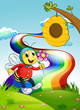 A smiling bee holding a flower at the hilltop with a rainbow