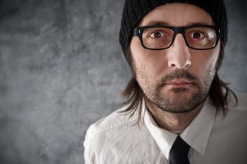 Businessman portrait with nervous look