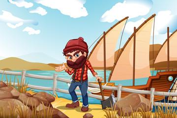 A lumberjack holding an axe near the sea