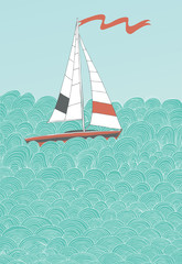 Sailing Boat and Hand-Drawn Waves