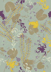 Seamless Pattern with Frogs and Lily Pads