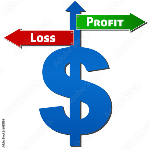 Dollar with Profit Loss Sign